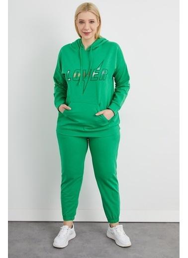 Curly Yeşil, Taşlı Eşofman Takımı Yeşil